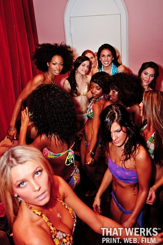 Paradise Bikini models backstage at Hudson Terrace