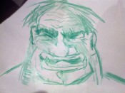 The Incredible Hulk drawn in crayon