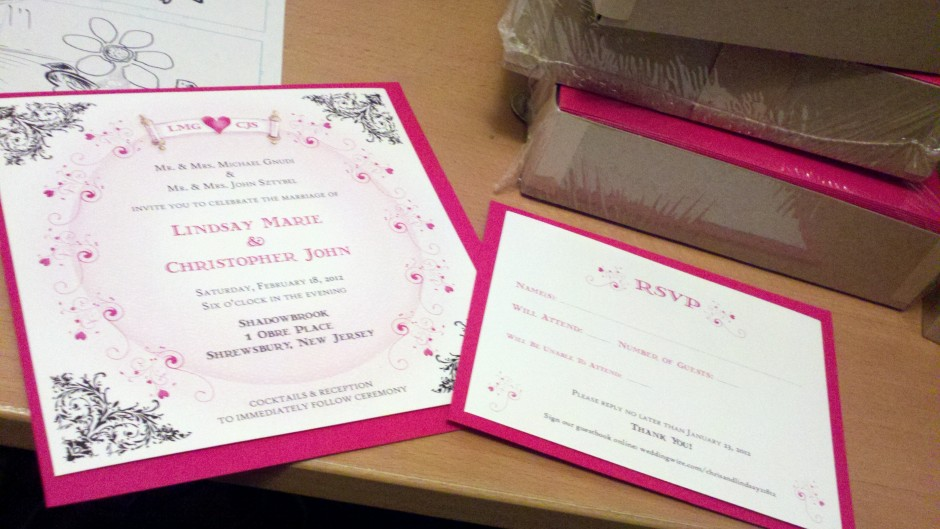 Our wedding invitation and RSVP card