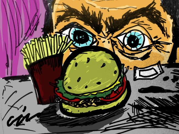 Illustration of man and his disgusting fast food