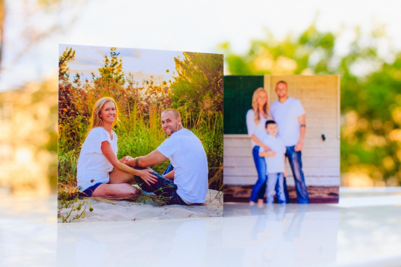 Wedding invitation featuring engagement and family sessions