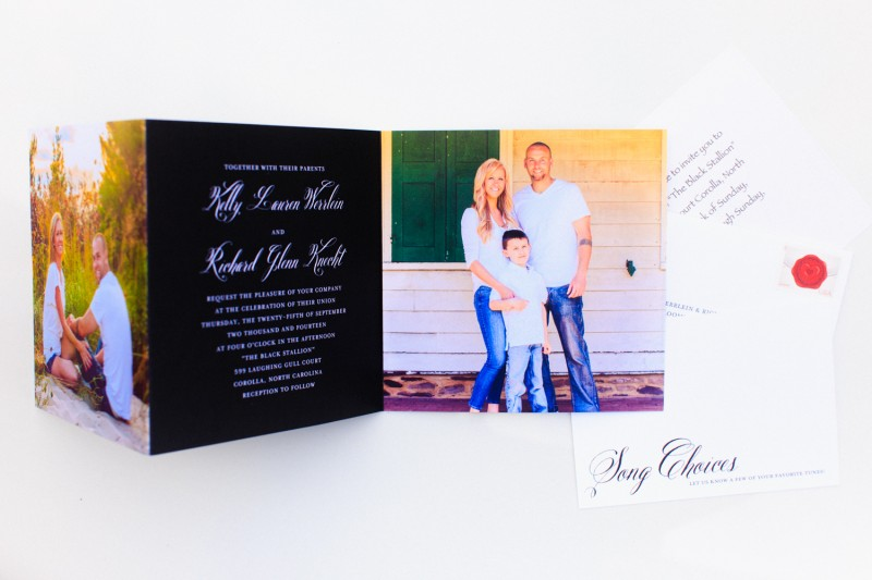 Wedding invitation featuring Sandy Hook engagement and Princeton family sessions