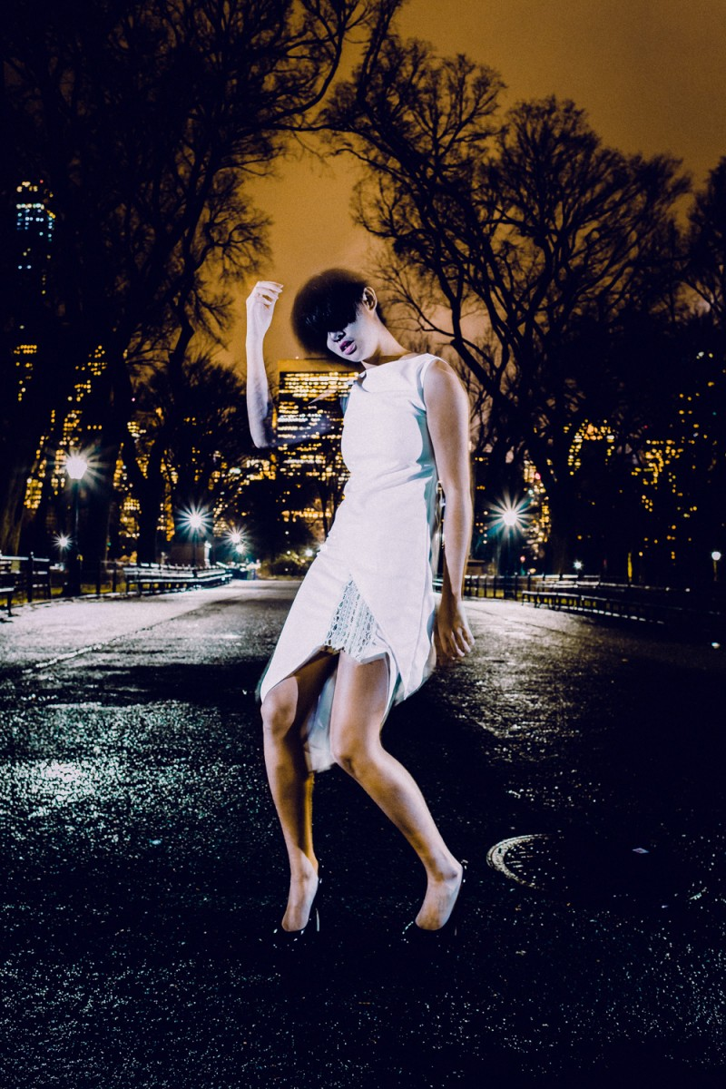Shot in Central Park located in New York, New York on a rainy February evening.