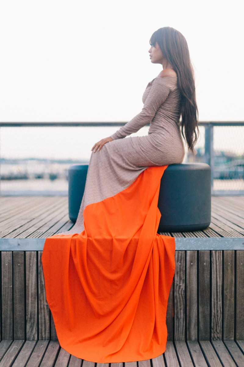A beautiful dress photographed at the South Street Seaport in New York, NY