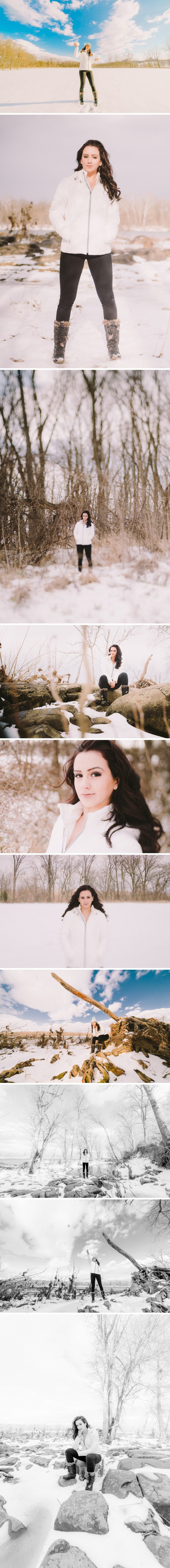 Cleri Models Mia B. photo shoot in the snow along the Potomac River