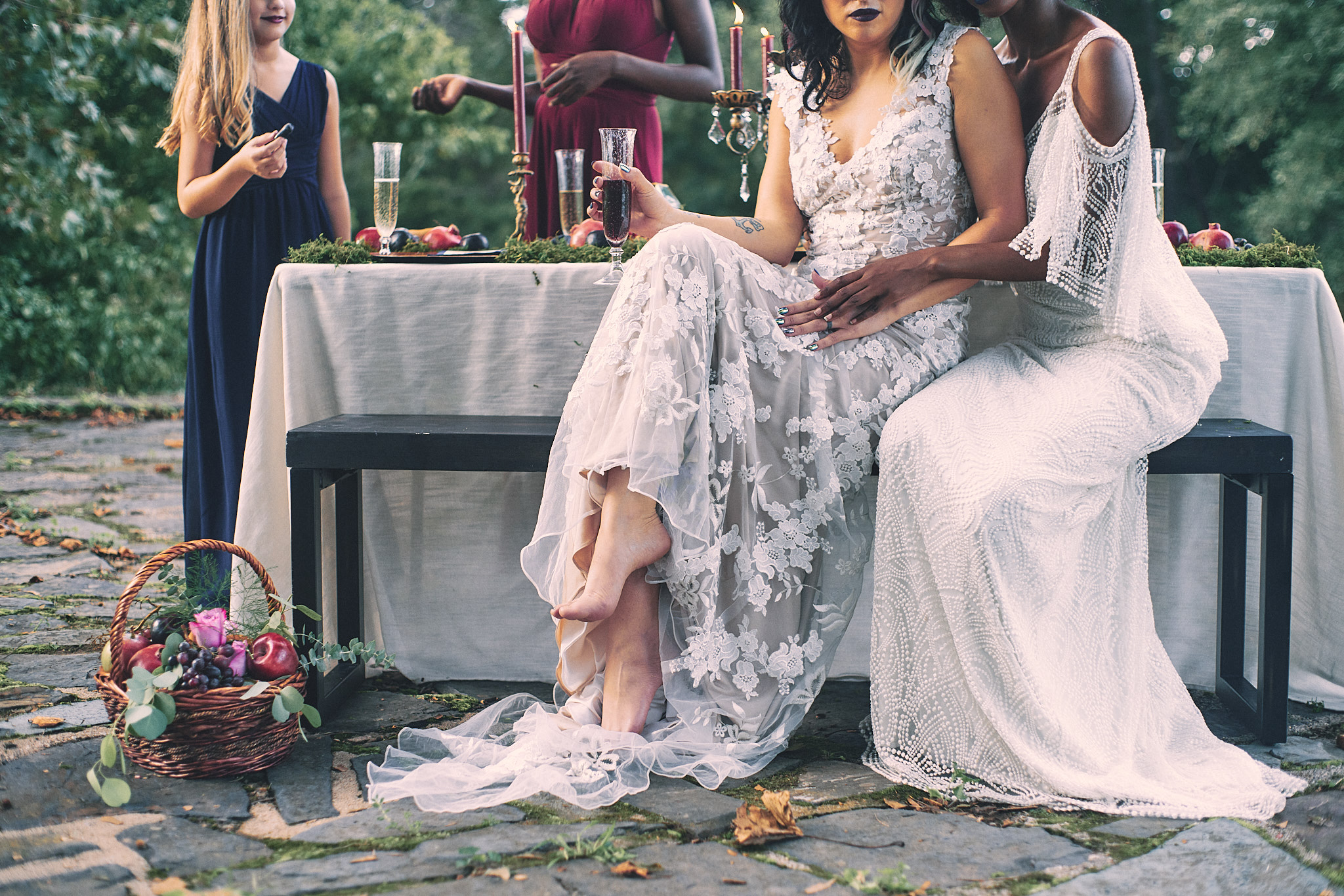 Styled wedding shoot featuring BHLDN bridal gowns