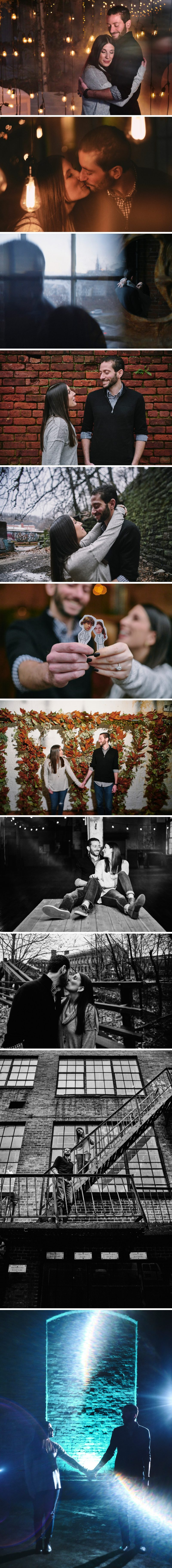 Come inside Art Factory Studios for an engagement sessions for bride to be Alyssa and groom to be Leo. Their industrial wedding venue is located in Paterson, New Jersey near The Great Falls.
