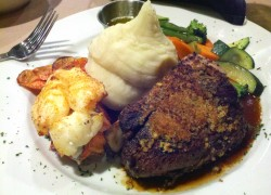 Delicious surf and turf ready to be consumed