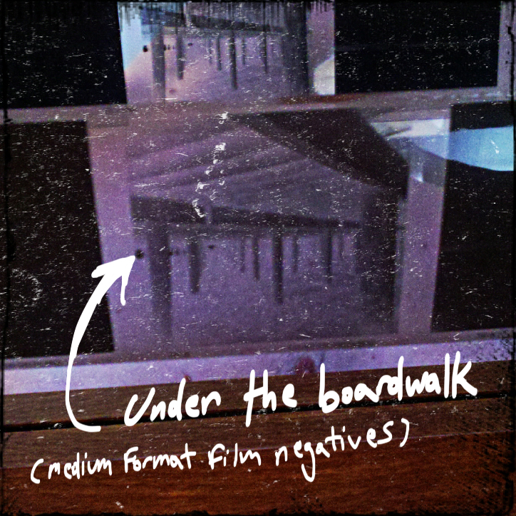 Boardwalk negative taken with Holga camera