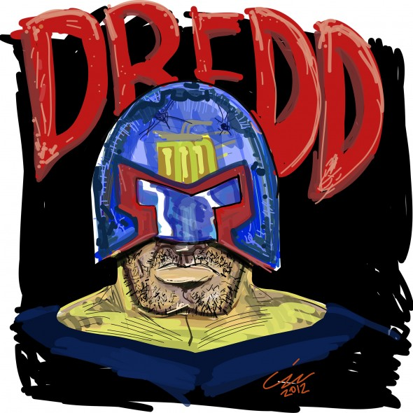 Drawing of Judge Dredd by Christopher John Sztybel