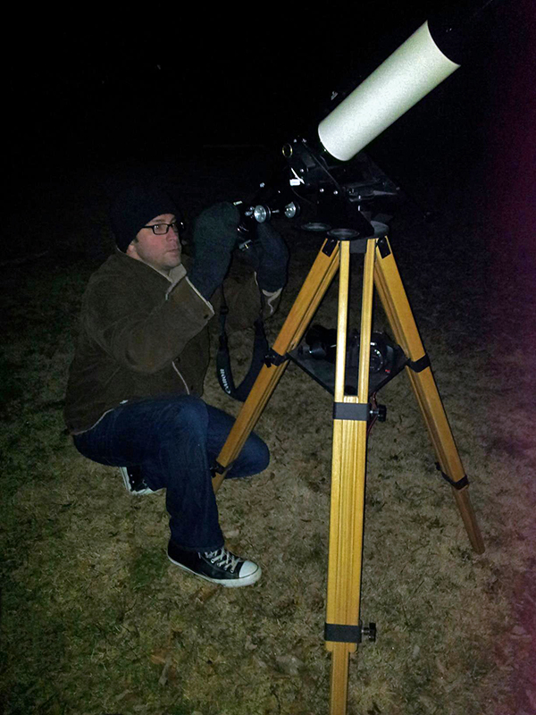 Christopher John Sztybel photographing the Wolf Moon with a Canon 7D and Televue TV-101 telescope