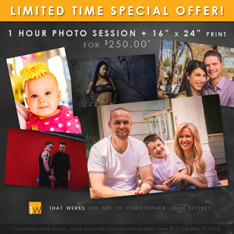 1 Hour Photo Session for $250.00