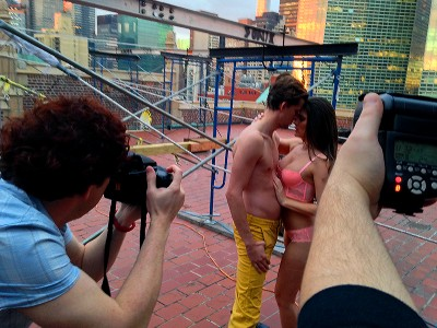 Behind the scenes shot of one of my favorite setups. Sunset on a Manhattan rooftop can't be beat.