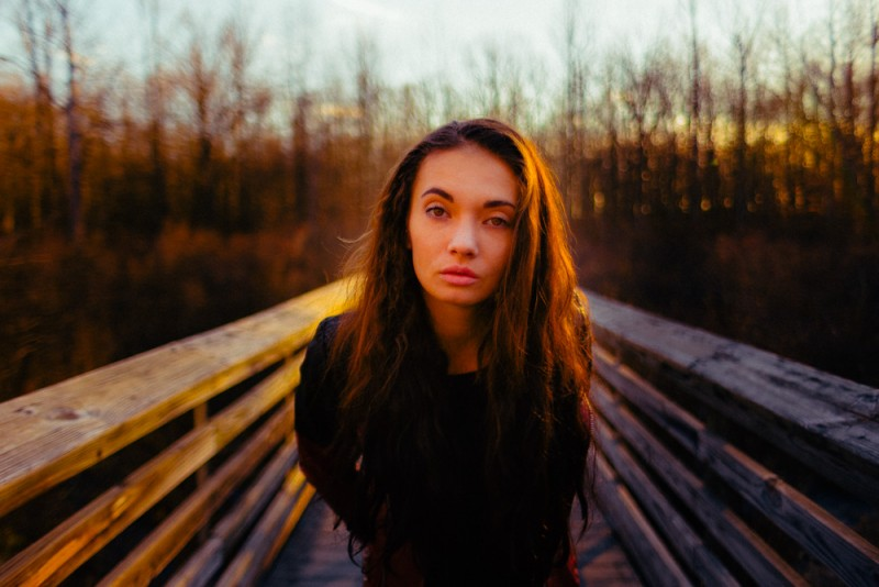 Portraits of Gina Knox taken at The Great Swamp during sunset